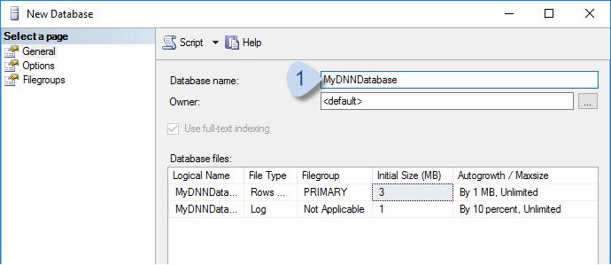 Enter new database name.
