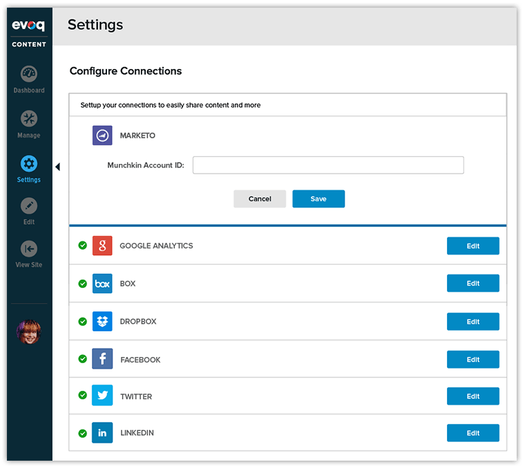 configure integrations in Evoq