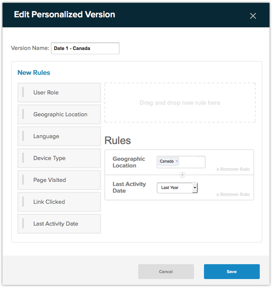Personalization rules in Evoq