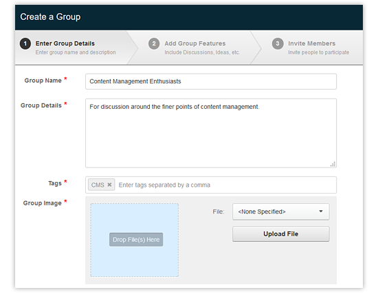 create a group in Evoq
