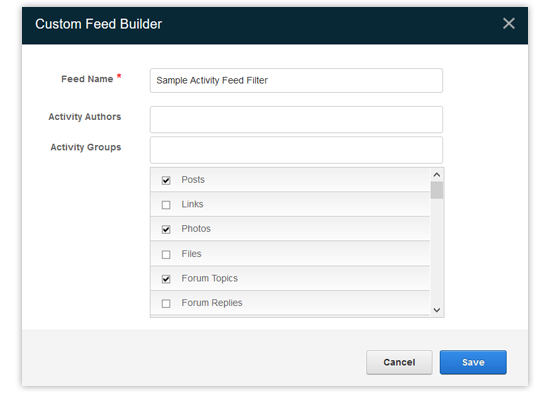 sample activity feed filter